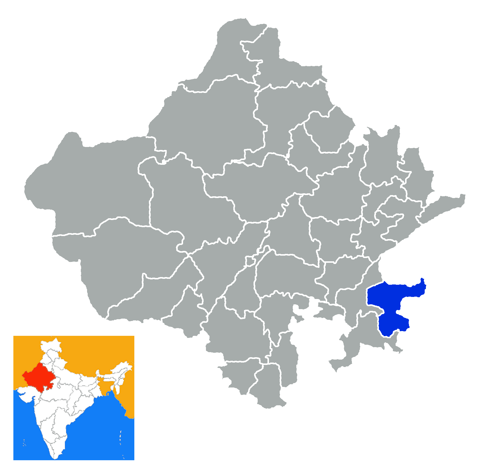 Map of Baran City in Rajasthan