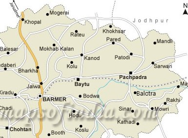 Map of Balotra City in Barmer, Rajasthan