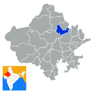 Sikar City in Rajasthan State Map of India