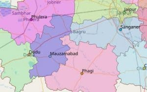 Map of Mauzmabad City in Jaipur, Rajasthan State, India