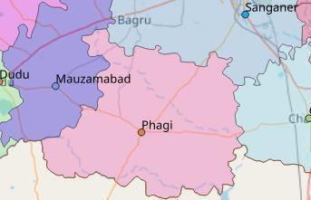 Map of Phagi City in Jaipur District, Rajasthan