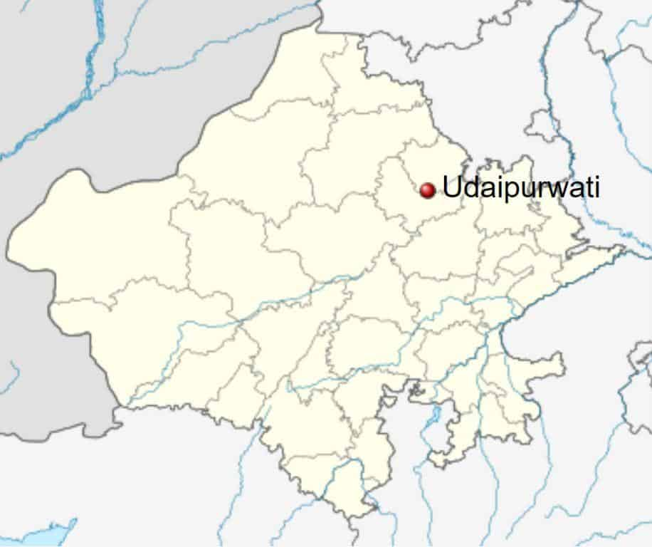 Location of Udaipurwati City in Jhunjhunu District, Rajasthan